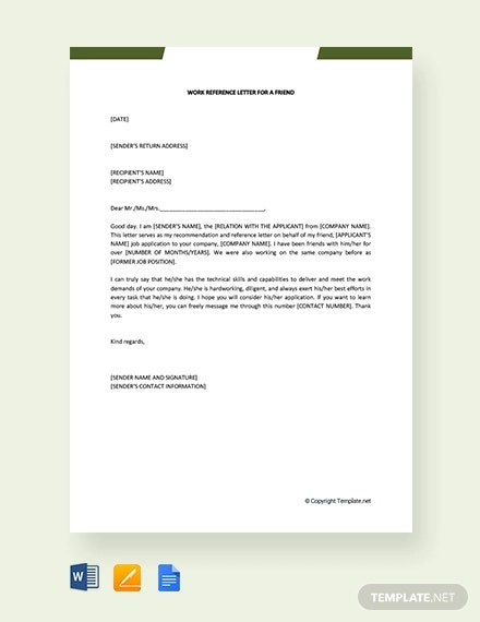 free work reference letter for a friend