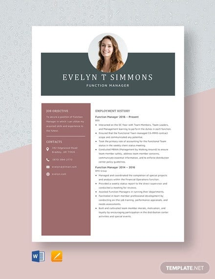 function manager resume template