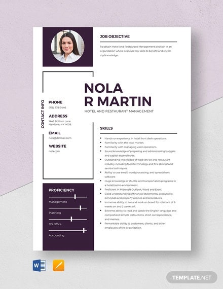 hotel and restaurant management resume template