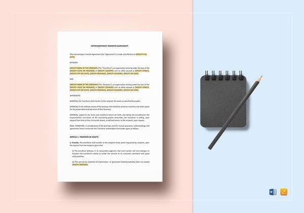intercompanies transfer agreement template 600x420