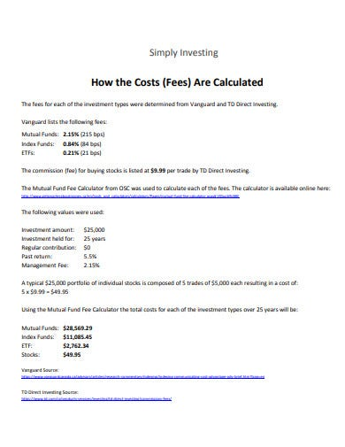 investment fees calculator template