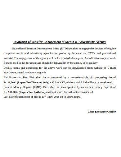 invitation of bids for engagement of media and advertising agency