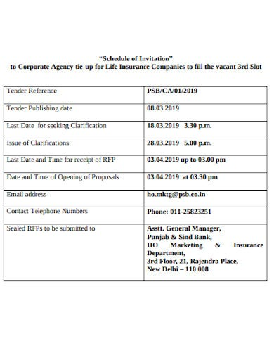 invitation of proposal to corporate agency