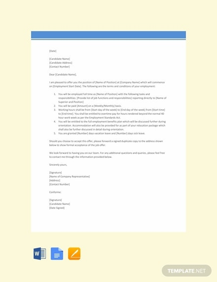 job offer letter with free accommodation template