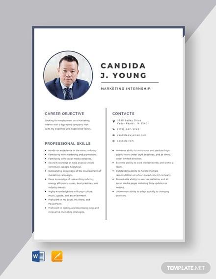 marketing internship resume template
