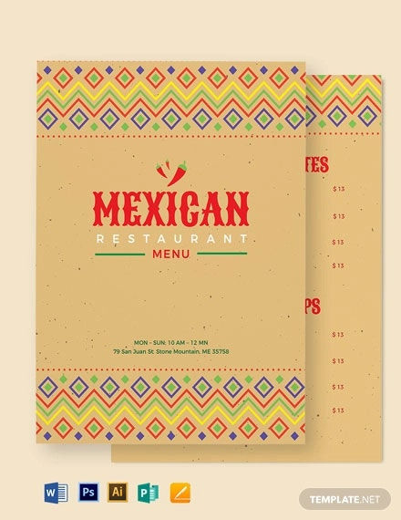 mexican restaurant menu template1