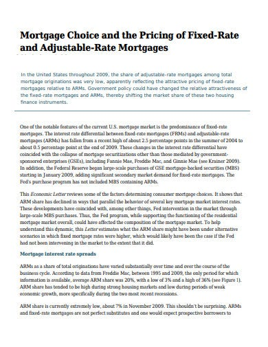 mortgage pricing of fixed rate