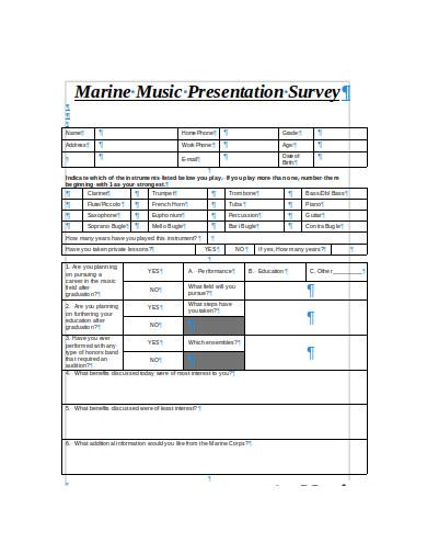 music presentation survey