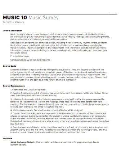 music survey template