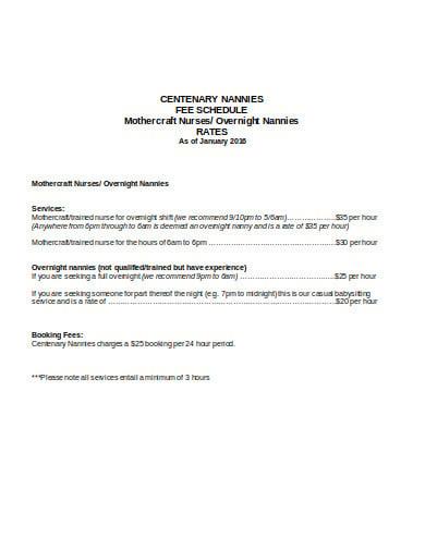 nanny fee schedule in doc