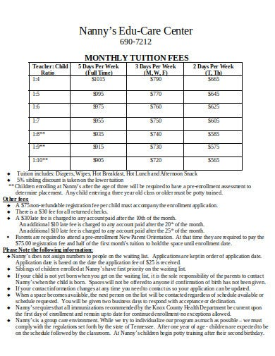 nanny monthly tuition fee schedule
