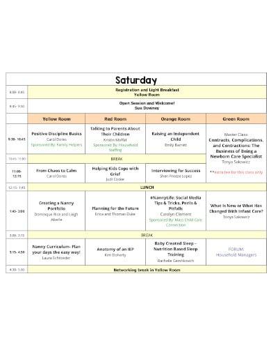 nanny schedule template