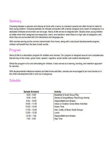 nanny schedule in pdf