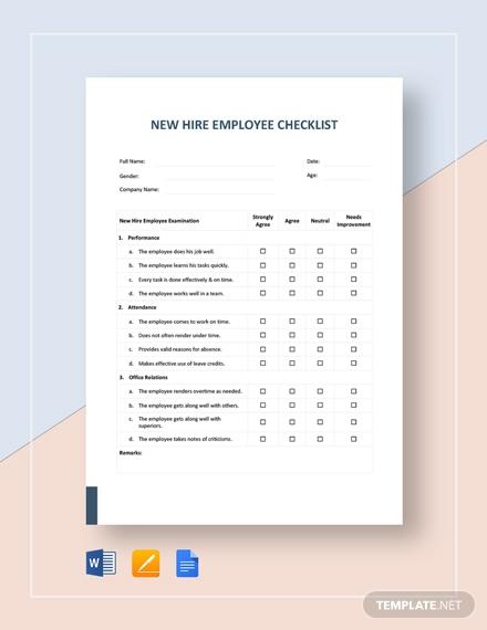 new hire employee checklist