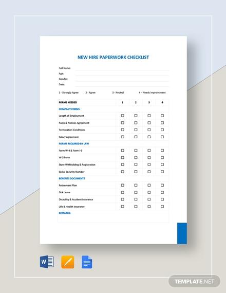 new hire paperwork checklist