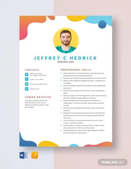 nursing aide resume template