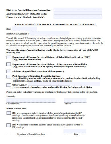 parent consent for agency invitation to transition meeting