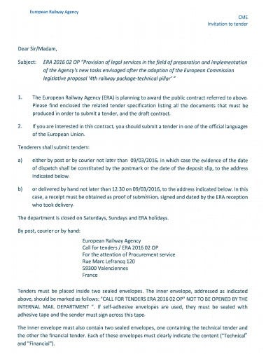 railway agency invitation to tender