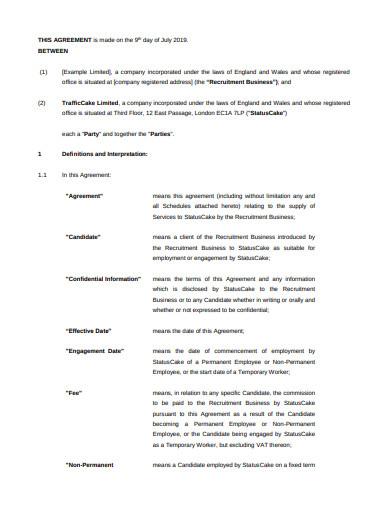 recruitment business service level agreement