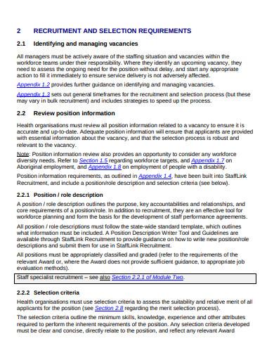 recruitment staff health service level agreement