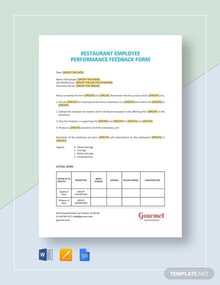 restaurant employee performance feedback form