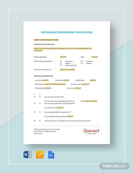 restaurant employment application template1