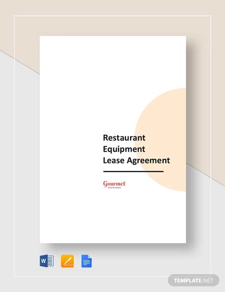 restaurant equipment lease agreement template