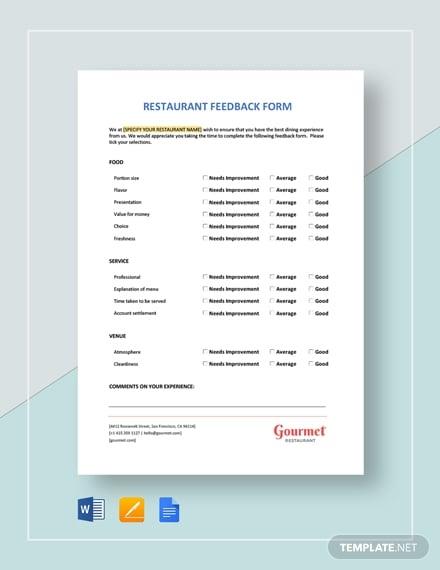 restaurant feedback form 2