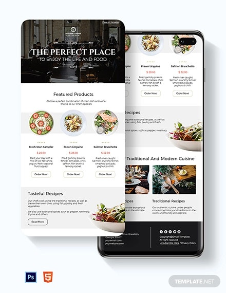 restaurant food email newsletter template