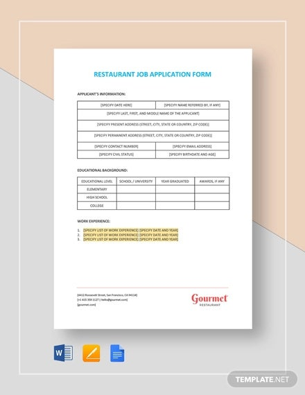 restaurant job application form template1