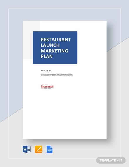 restaurant launch marketing plan template