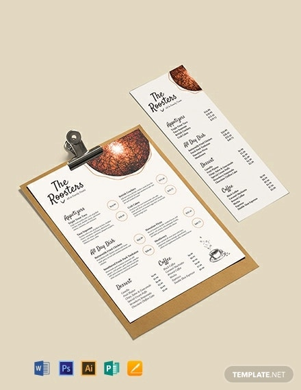 restaurant menu card