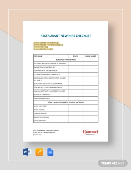 restaurant new hire checklist