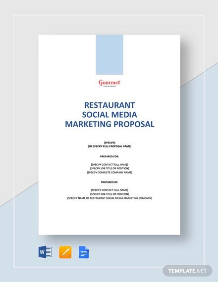restaurant social media marketing proposal template