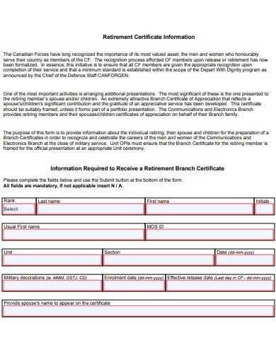 retirement certificate of appreciation information