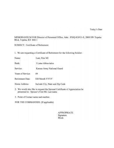 retirement certificate of appreciation letter