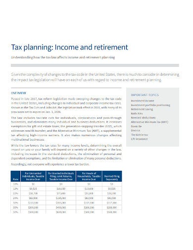 retirement income tax planning