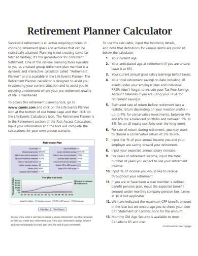 retirement planner calculator