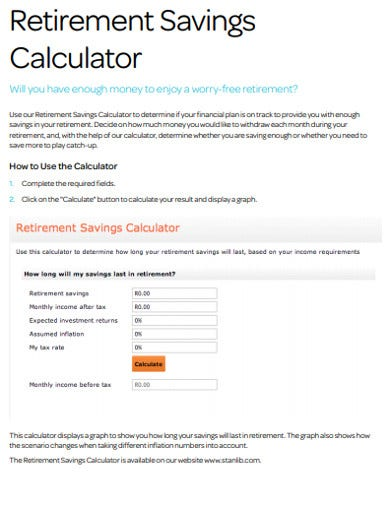 retirement savings calculator