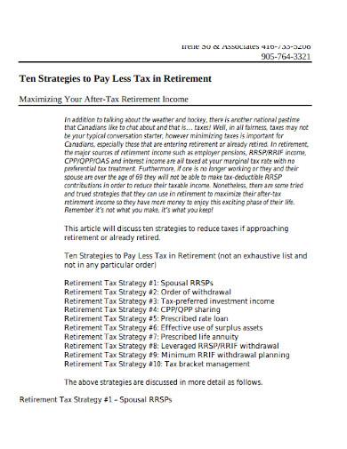 retirement strategies tax planning