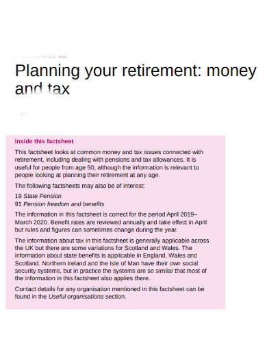 retirement tax information planning