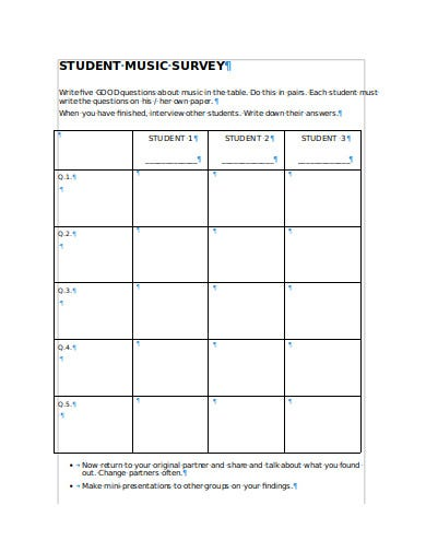 school student music survey