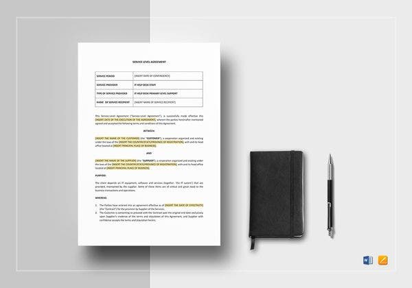 service level agreement template 600x420