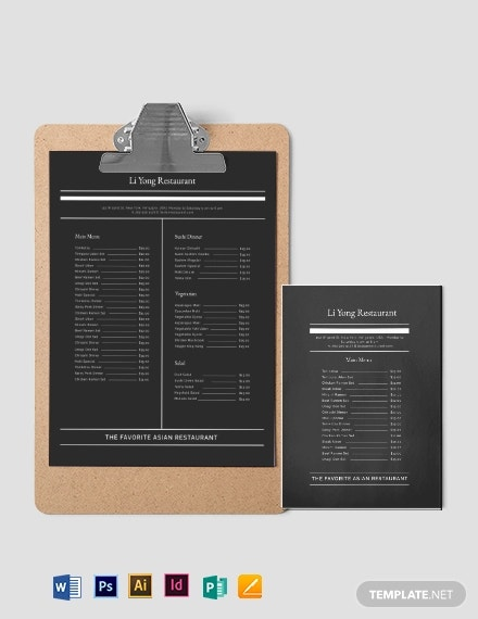 simple asian restaurant menu template
