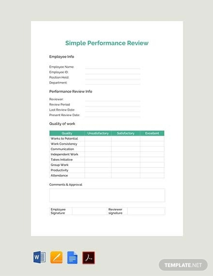 simple performance review template 1