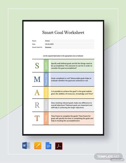 smart goal worksheet template
