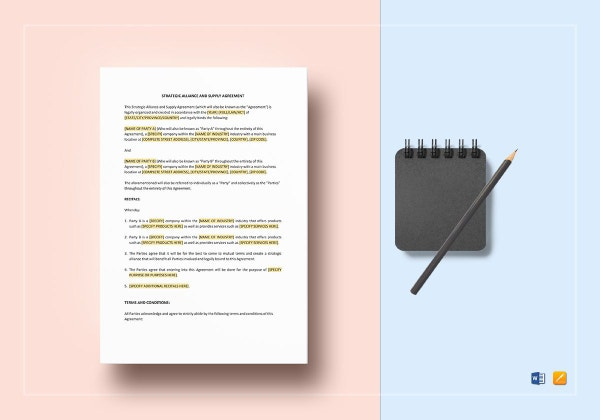 strategic alliance and supply agreement template