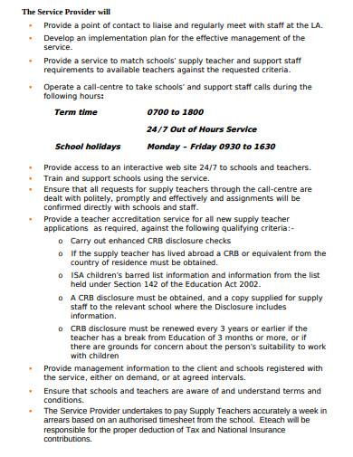 teaching recruitment service level agreement