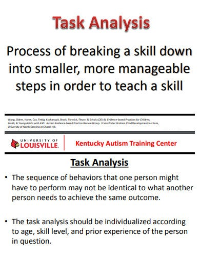 training center task analysis