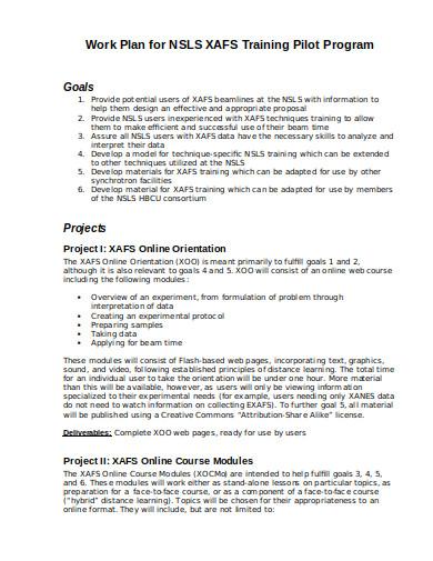 training program work plan in doc